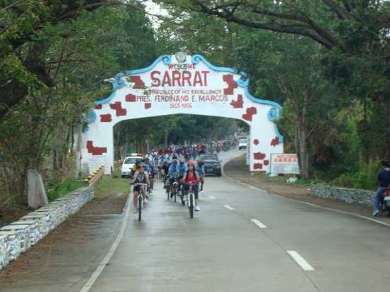 Bike peloton leaving Sarrat town proper
